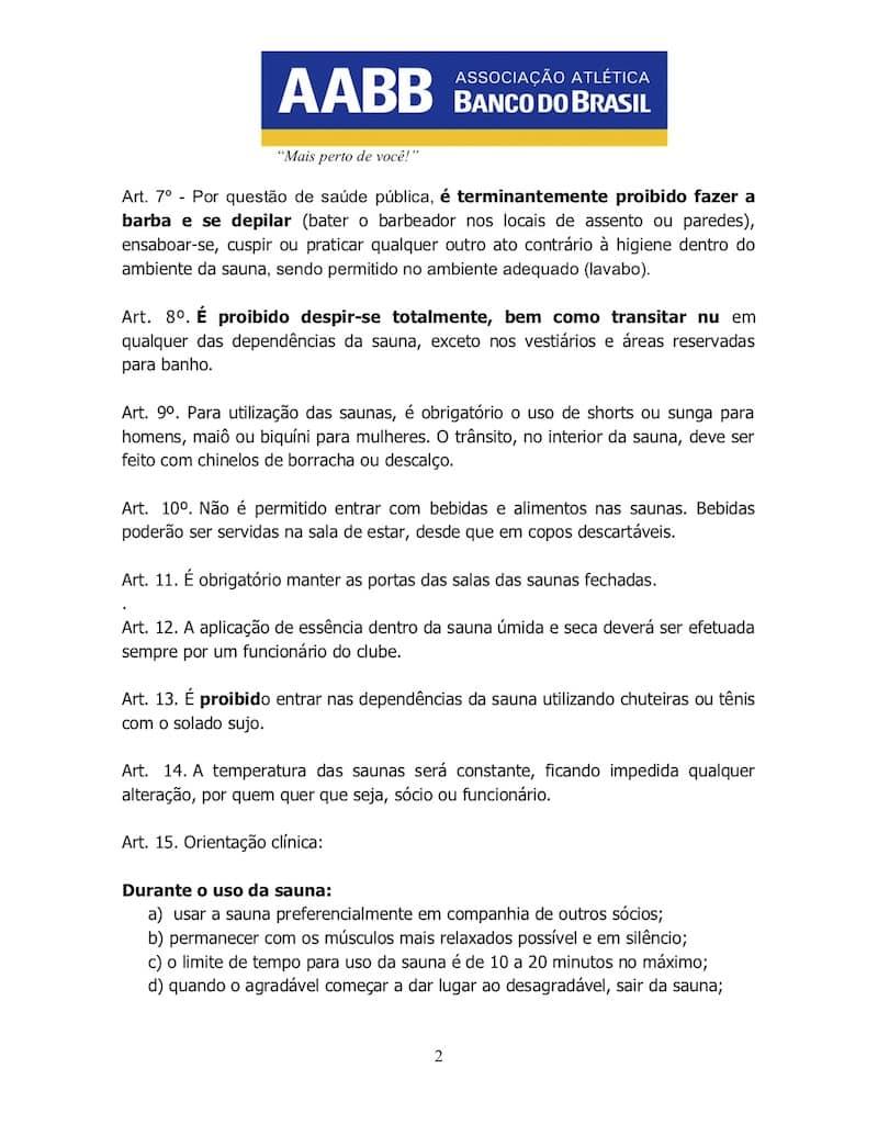 REGULAMENTO DA SAUNA AABB JATAÍ - 2